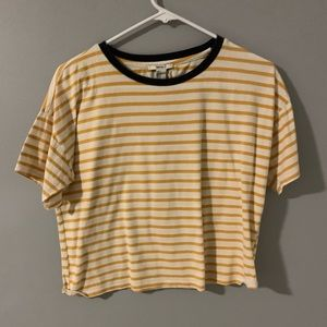 Cropped striped short sleeve